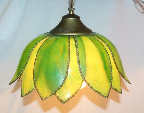 Vintage Green Lotus Flower Tulip Hanging Light Fixture Pendant