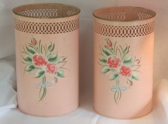 Vintage Waste Basket Tole Hand Painted Pink Rose Metal Trash