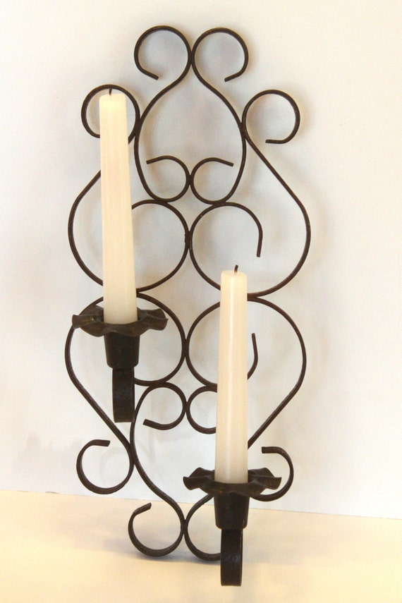 Vintage Black Candle Holder Retro Wall Sconce Metal Wrought