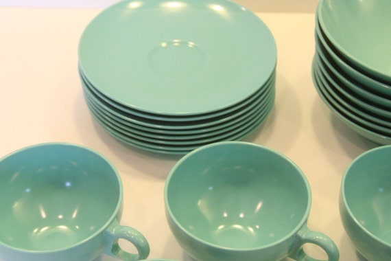 Vintage Coffee Tea Cups Saucers and Bowls Set of 24 Service for 8 Melamine by Oneida Premier turquoise teal aqua