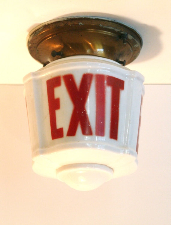 Vintage Art Deco EXIT sign Ceiling Light Fixture Shade Glass
