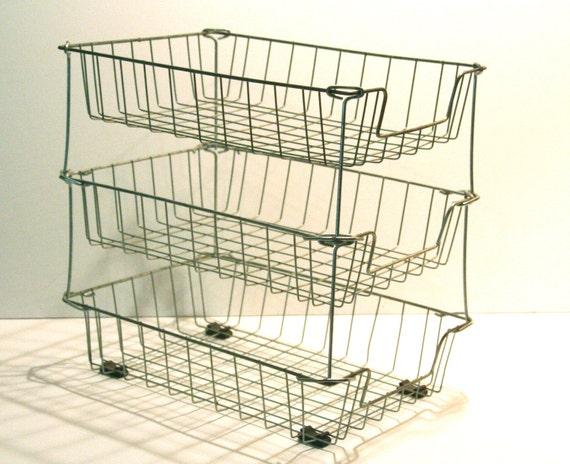 Vintage Stacking Wire Baskets Three Tier Inbox Office
