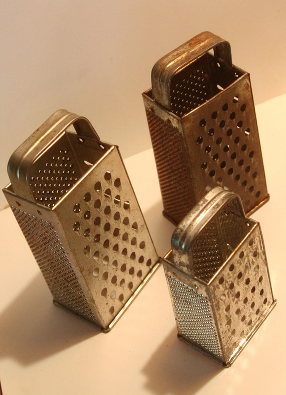 Vintage Kitchen Gadgets Set of Three Standing Box Graters for cheese