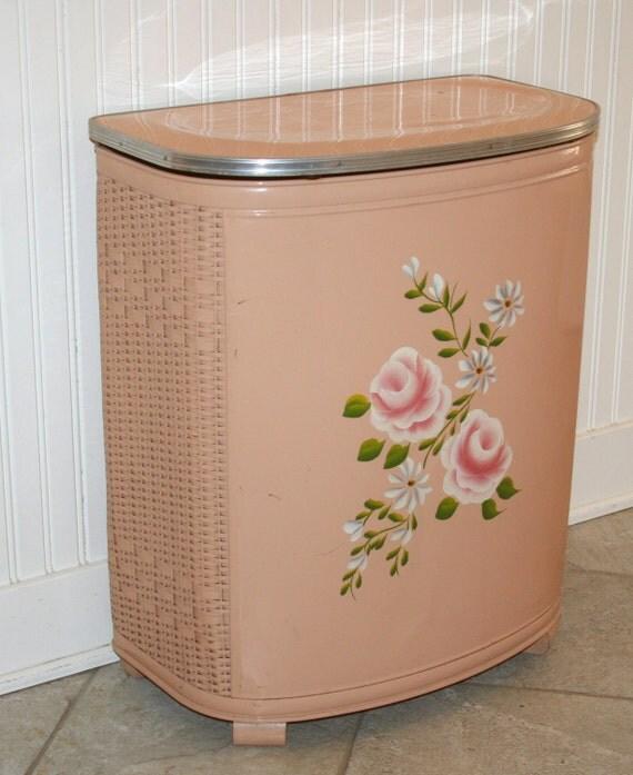 sale vintage hand painted pink tole hamper by calmcoolcollectedvin. Black Bedroom Furniture Sets. Home Design Ideas