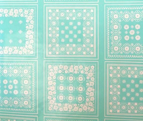 Vintage FULL ROLL Wallpaper Shelf Drawer Liner Aqua Turquoise Teal and White Retro Bandana Pattern