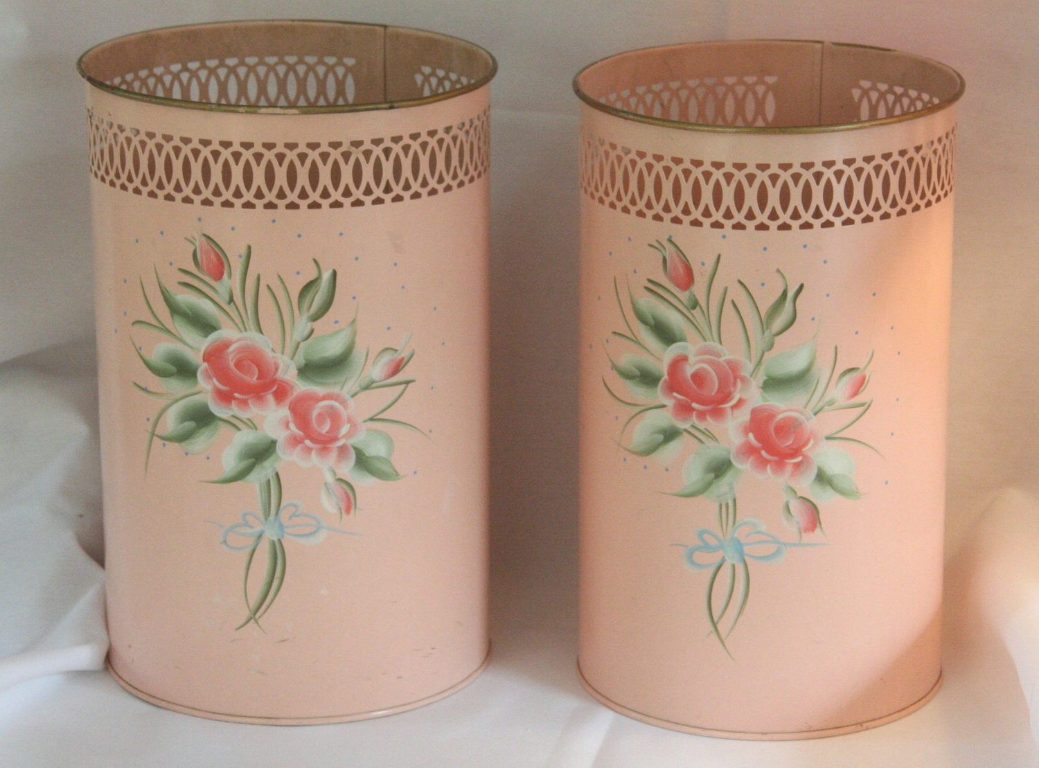 Vintage Waste Basket Tole Hand Painted Pink Rose Metal Trash