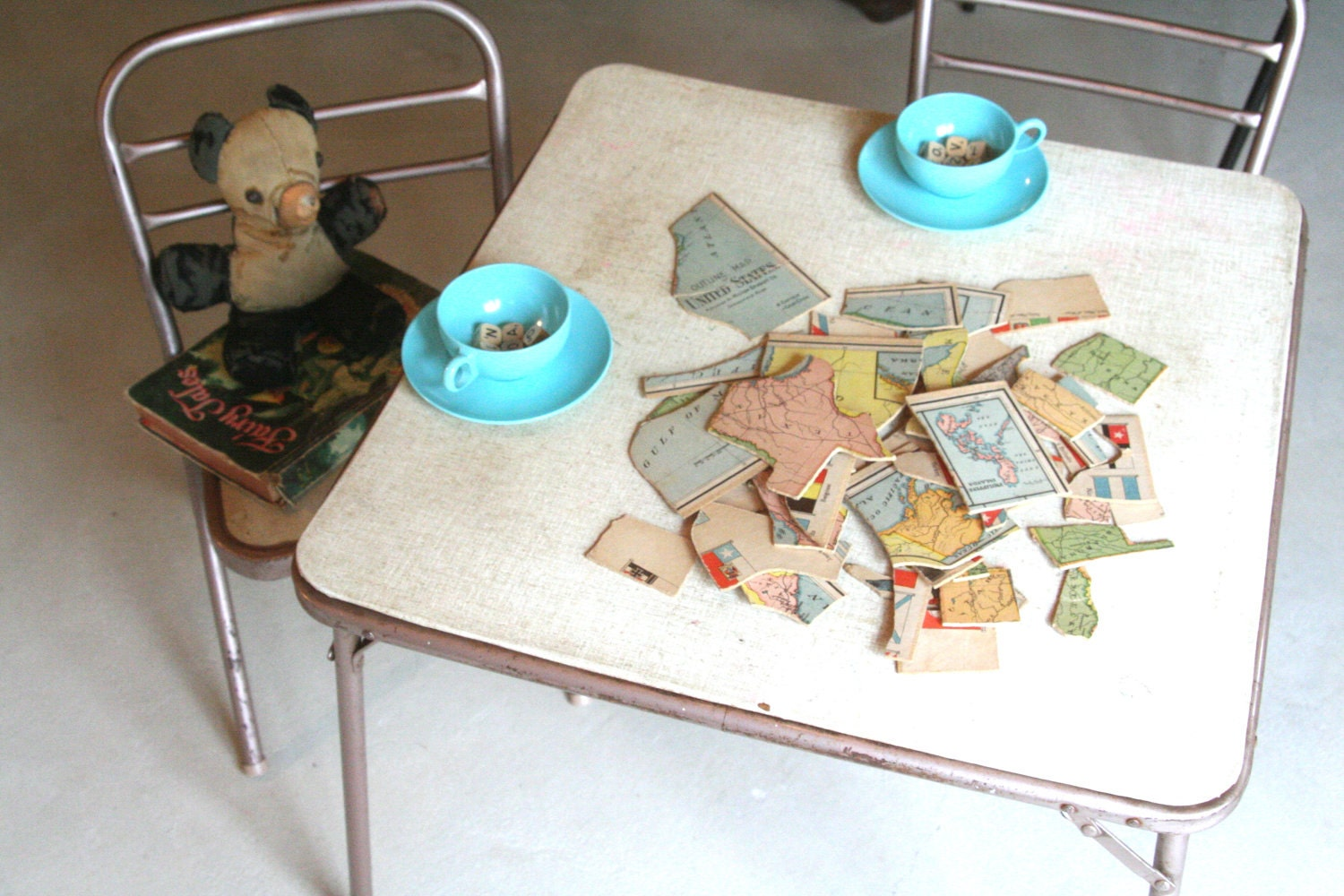 Sale Vintage Children S Folding Card Table And Two Chairs