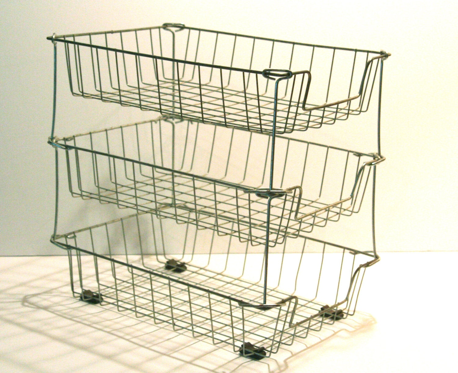 Vintage Stacking Wire Baskets Three Tier on stackable desk trays