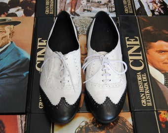 Handmade Oxford Combined Shoes Leather Black and White