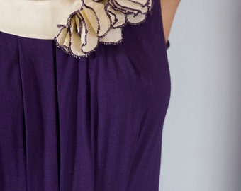 "Purple and Cream Colored Dress with Flower ""Decades of the Past"""