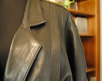 "80 Vintage Black Leather Jacket ""Rock and Roll"""