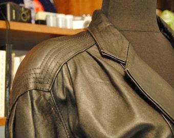 "80 Vintage Black Leather Jacket Coat ""Sweet Winter"""