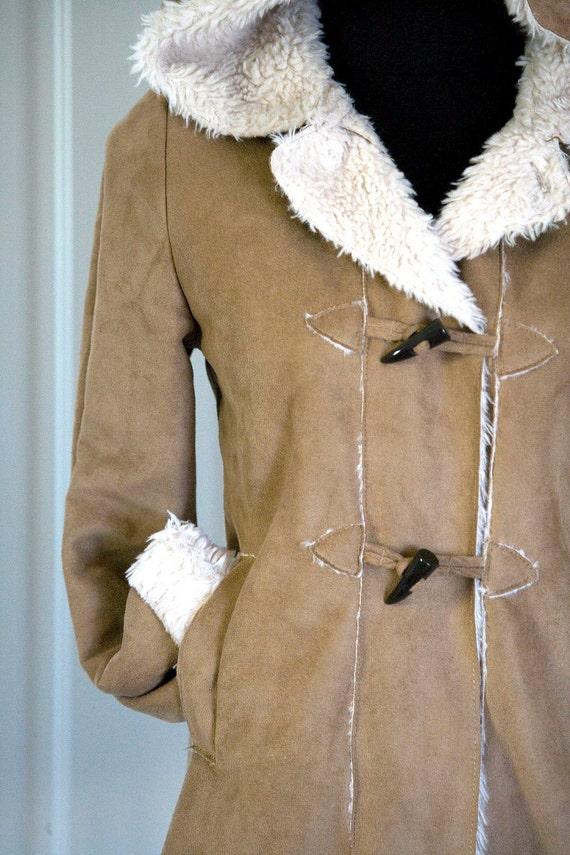 Honey Colored Hooded Parka Coat faux Sheepskin