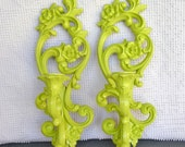 You CHOOSE Color Ornate Candle Sconces... Set of Two Upcycled Painted Vintage Homco Candleholders... Modern Traditional