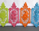 Bright Upcycled Wall Plaques Vintage Syroco Seasonal Wall Hangings Lime Green Pink Orange Aqua