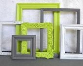 RESERVED for Ashley....Lime Green, Grey White Frames Set of 6 - Upcycled Frames Modern  Bedroom Decor