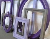 Purples, Greys  Painted Frames Set of 8 - Upcycled Frames Girls or Elegant bedroom decor