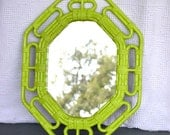 Lime Green Upcycled Vintage Mirror...great for Modern decor Teen Bedroom Playroom