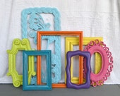 Reserved for Jessica....Bright Painted Frames & Mirror Set of 7 - Upcycled frames.. great for Gallery Wall or Teen Girl Kids Bedroom