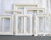 Shabby Chic Ornate Heirloom White Painted Frame Set of 6 - ... Upcycled painted frames romantic floral frames