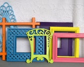 Bright Painted Funky Frames Set of 7 - Upcycled painted frame collection.. great for Gallery Wall/Cottage or Teen Girl Kids Bedroom