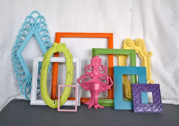 bright painted frames mirror set of 10 upcycled painted frame collection great