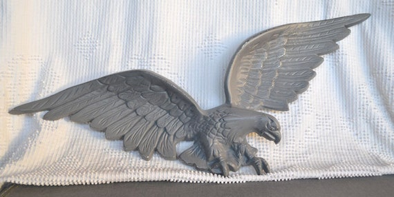 Vintage Metal Eagle Wall hanging... Grey Upcycled Painted Metal Wall Eagle Plaque