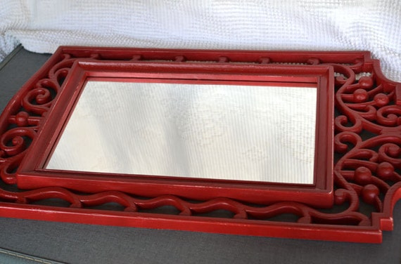 Red Upcycled Vintage Mirror...great for Modern decor  Modern Country Cottage Farmhouse