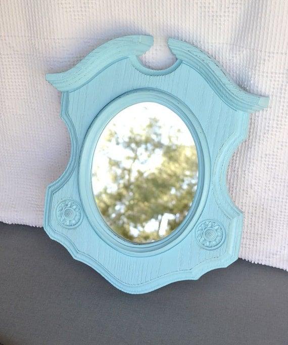 Shabby Chic Aqua Mirror  - Upcycled Funky Modern Wall Oval Mirror