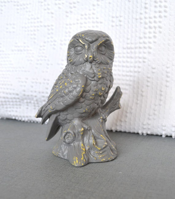 Grey over Yellow Owl - Upcycled shabby chic painted ceramic modern owl