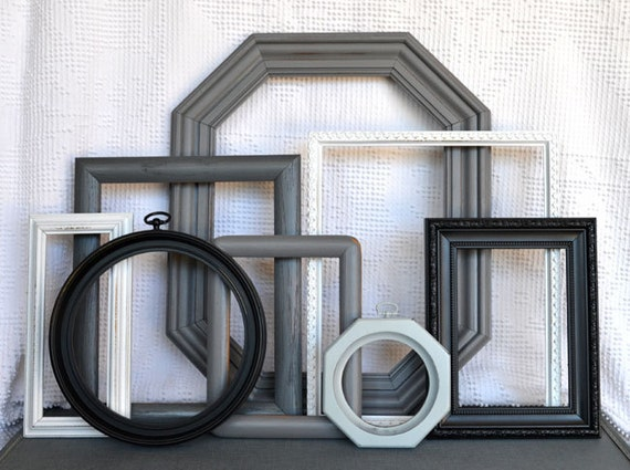 Modern Frames Set of 8 Black White Greys - Upcycled Painted Frames with Octagon and circle frames