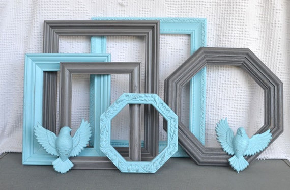 Aqua Greys  Upcycled set of 6 Painted Frames with birds.. great for Gallery Wall, Modern Decor Baby Nursery