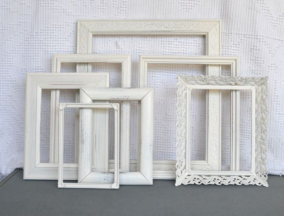 Shabby Chic Ornate Heirloom White Painted Frame Set of 7 - ... Upcycled painted frames