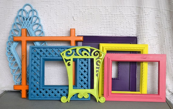 Bright painted funky frames set of 7 upcycled painted frame - Funky bed frames ...