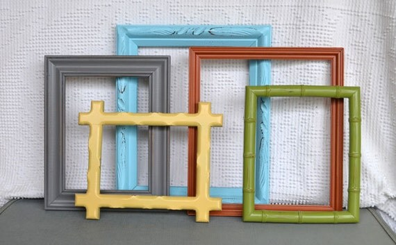 Modern Painted Frames Set of 5 - Upcycled Frames Aqua Cinnamon Orange Yellow Grey Green Nursery Playroom Owl Decor