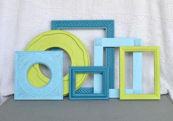 Lime Green Aqua Teal Turquoise Ornate Frames set of 6 Upcycled Painted Modern Frame set bedroom decor