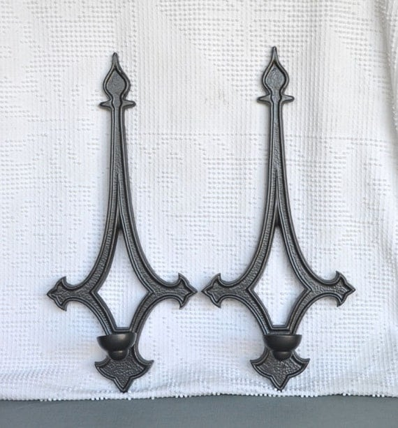 Metallic Charcoal Candle Sconces..Upcycled Painted Vintage Metal Candleholders... Hollywood Regency Modern Traditional Goth