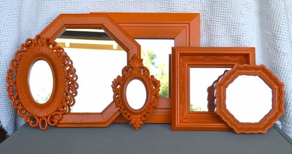 Orange Mirror Set of 6 - Upcycled framed Real Orange Ornate mirrors.. great for Gallery Wall or Bedroom