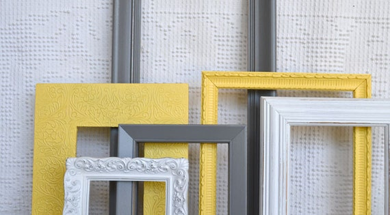 Yellow, Grey White Ornate Frames Set of 6 - Upcycled Frames Modern  Bedroom Decor