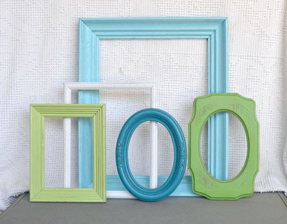 Coastal Painted Frames Collection- Aqua Teal Greens and White.. Upcycled Frames