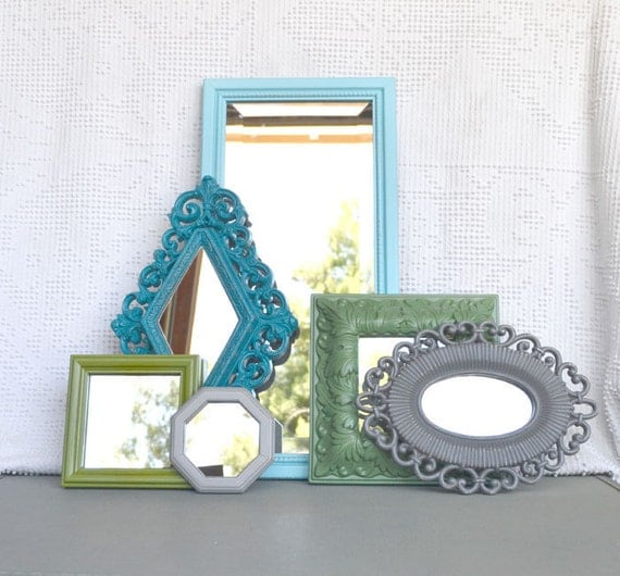 Aqua, Teal, Greys and Greens Ornate Upcycled 6 Mirrors collection.... Painted Modern Mirror set of 6