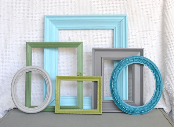 Aqua, Teal, Greys and Greens - Upcycled set of 6 Ornate Painted Frames.. great for Gallery Wall, Modern Decor