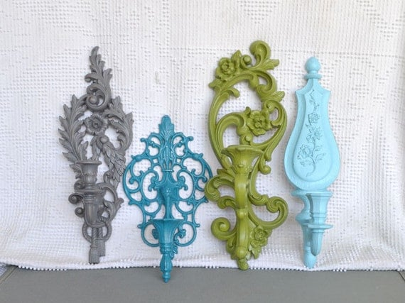 Modern Candlesconce Collection of 4-Grey Teal Green Aqua.. Upcycled Ornate Scrolly wall modern candleholders