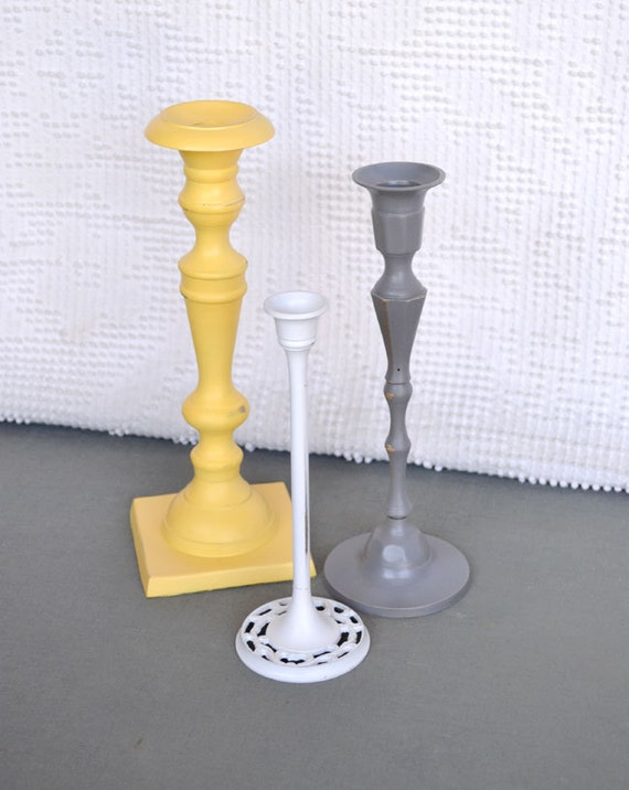 Grey/Gray Yellow White Candleholders Upcycled Painted Metal Set of 3