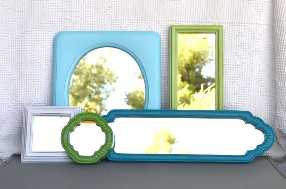 Coastal Modern Mirror Set of 5 - Upcycled framed Aqua Teal Greens White mirrors.. great for Gallery Wall or Beach House Bedroom