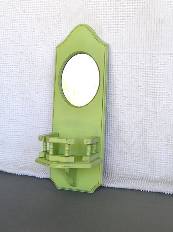 Apple Green Mirrored Upcycled Wood Shelf Mason Jar Flower Shelf... Shabby Chic Country Farmhouse Coastal Cottage Green Decor
