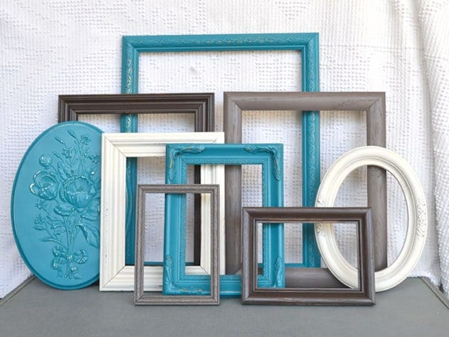 Teal Grey Brown Heirloom White Frames With GLASS Set Of 8