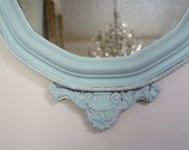 Shabby Chic Antique Wood White Washed Turquoise Mirror