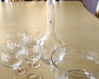 Vintage Romanian Blown Etched Floral Design Glass  Decanter Glasses Bowl Set