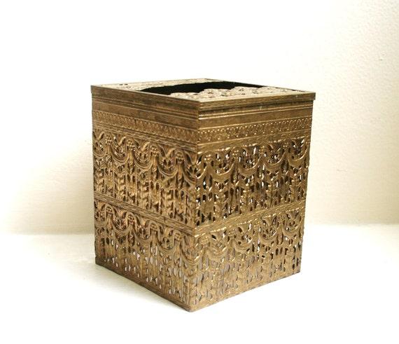 Hollywood Regency Ormolu Vintage Tissue Box Cover